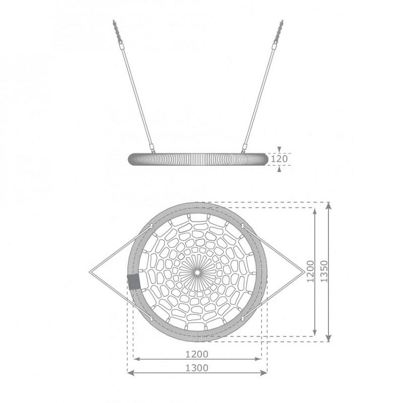 Hojdačka hniezdo Rosette EN1176 výkres 120 cm