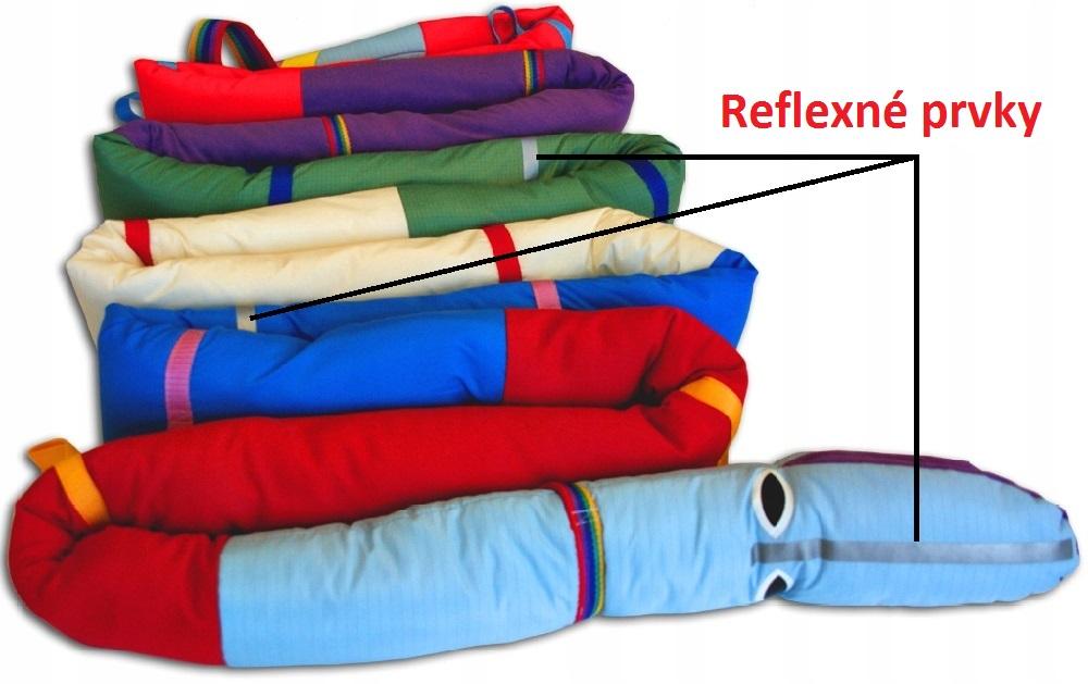 Vychádzkové lano Húsenica, reflexné prvky