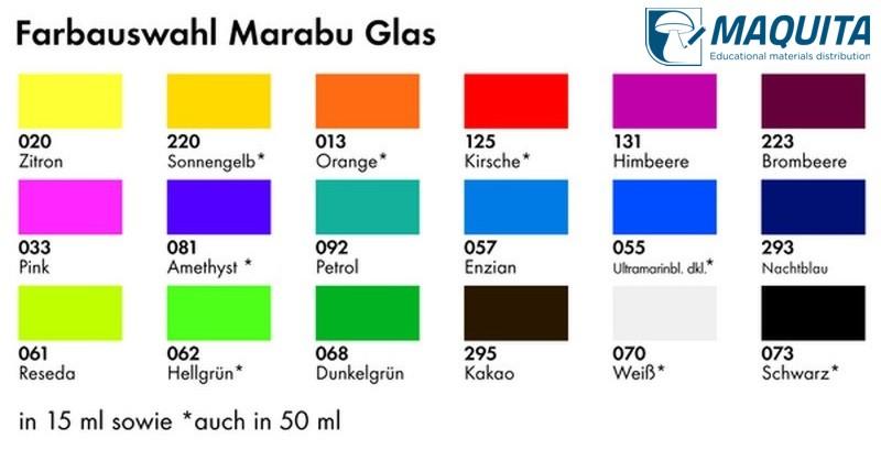 Vzorkovník farieb Marabu Glas používaných na výrobkoch