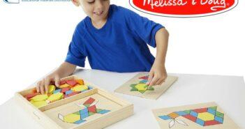 Melissa & Doug drevená farebná mozaika pre deti, 120 dielikov