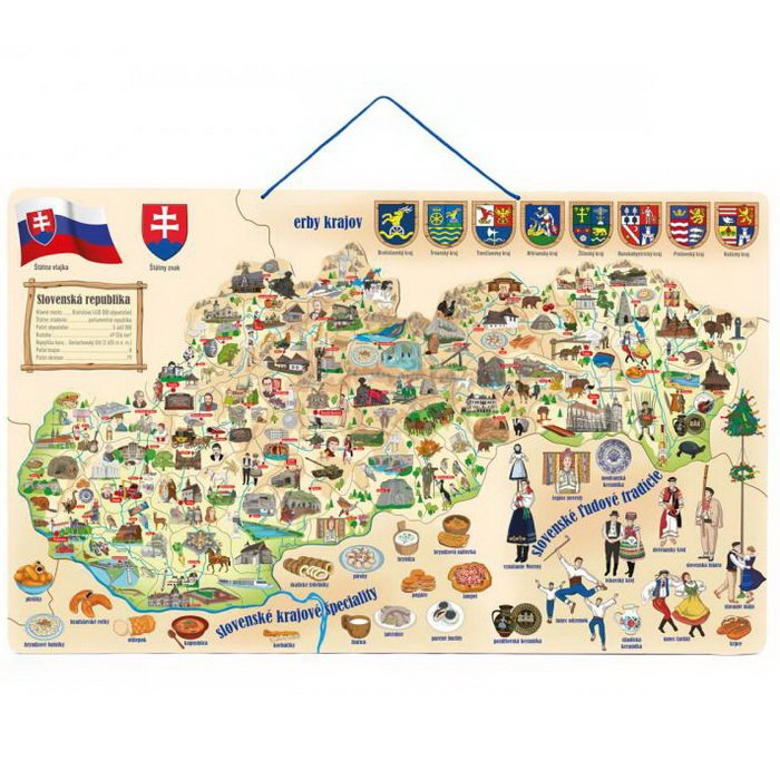 Woody Magnetická mapa Slovenska 3v1, 75x45 cm